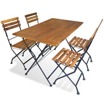 Salon de Jardin Pliable en Bois d\'acacia 1 Table et 4 Chaise ...