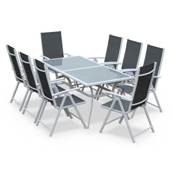 Salon de jardin en aluminium table 8 places Blanc et gris textilène ...