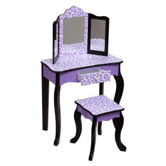 Teamson meuble coiffeuse table de maquillage bois enfant tabouret violet  noir