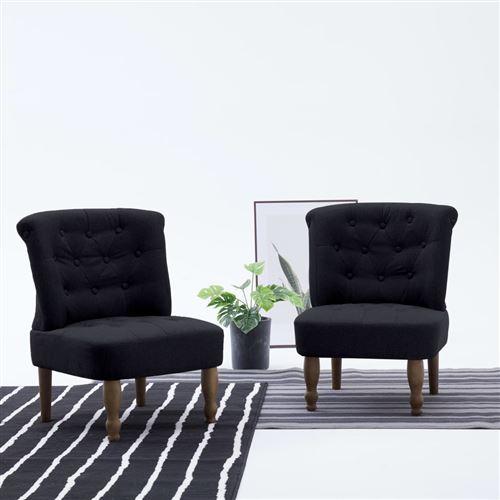 Chaise française Noir Tissu