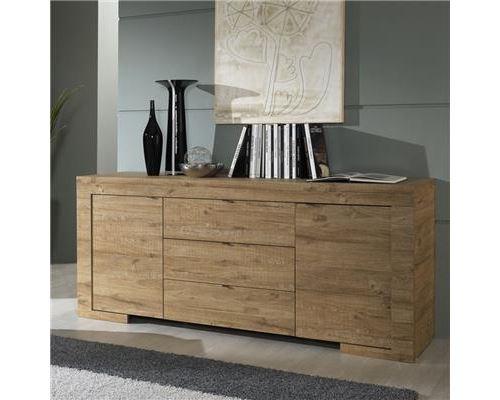 Buffet bahut couleur chêne 2 portes 3 tiroirs contemporain GALIA