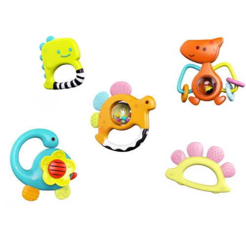 Dinosaur Hochets Teether Shaker Grab And Spin Rattle Musical Set Toy Multicolore PT328
