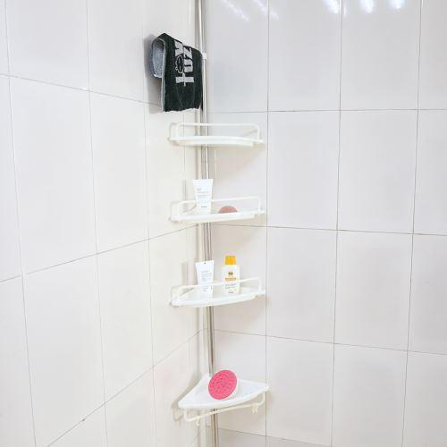 120-300 cm Etagère d'angle télescopique Plateau salle de bains avec 4 tablettes et crochets-Blanc