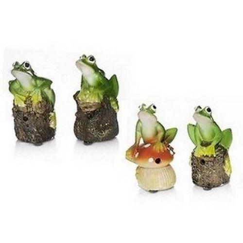 4 grenouilles de jardin avec détecteur de presence et de passage