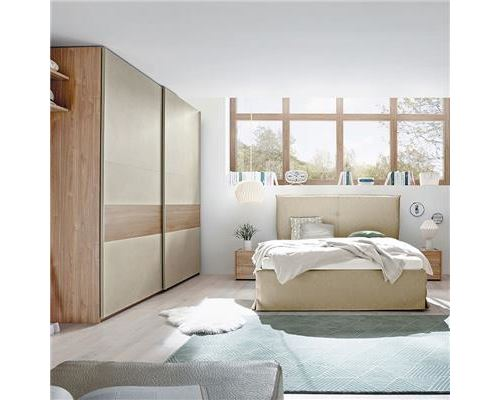 Chambre à coucher taupe et couleur bois miel ADRIANO lit 180 cm - L 200 x P 210 x H 120 cm