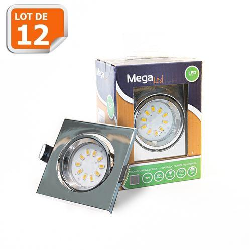 Lot 12 Spots encastrables LED amovibles Chrome 2W - Equivalent 20W - Mega Led CL10GUSC20W
