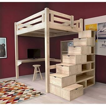 abc meubles lit mezzanine alpage bois escalier cube hauteur r glable alpagcub vernis. Black Bedroom Furniture Sets. Home Design Ideas