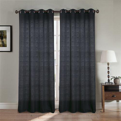 Paire de rideaux aspect lin - Noir, 140x260cm