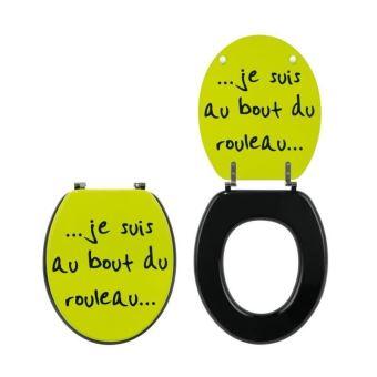 Abattant Wc Humoristique Au Bout Du Rouleau Vert Et Noir
