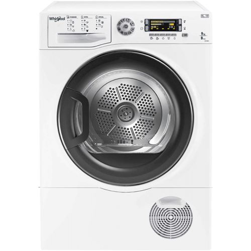 Whirlpool DELY9000 - Sèche-linge - indépendant - largeur : 59.5 cm - profondeur : 61 cm - hauteur : 85 cm - chargement frontal - blanc avec porte graphite
