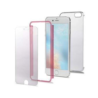 Celly Total Body Coque en PC avec Film de Protection d'écran en Verre trempé pour iPhone 7 Plus Rose
