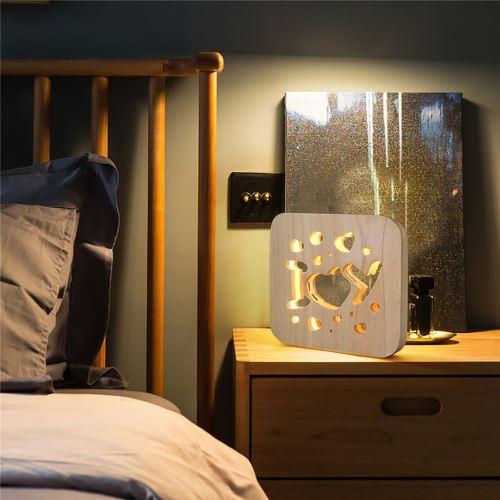 Creative Craft Décoration Lampe en bois Led Lumière Veilleuse Lampe de table wedazano435
