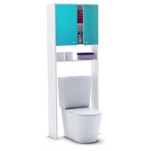 CORAIL Meuble WC ou machine a laver L 63 cm - Bleu lagon brillant