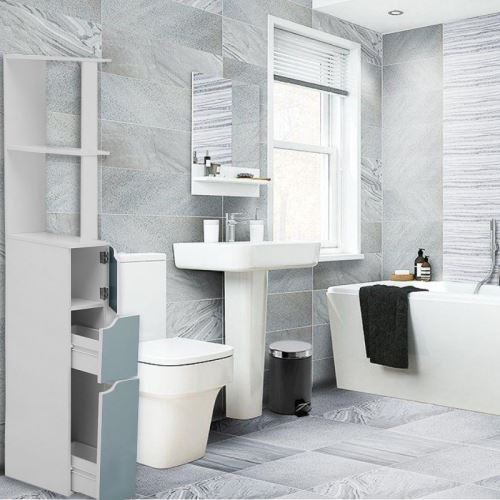Colonne de salle de bain - CARINDA - 136 cm - bleu - 2 tiroirs - 1 rangement fermé - 3 étagères