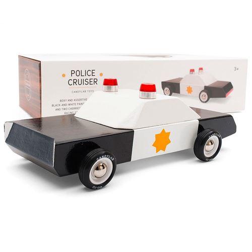 Petites voitures et mini modèles rétro classiques en bois Candylab Americana Véhicules design pour enfants et adultes - Police Cruiser M0301