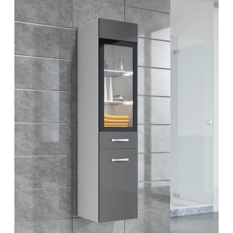 Armoire de rangement Rio Hauteur : 131 cm Gris brillant - Meuble de  rangement haut placard meuble de salle de bain