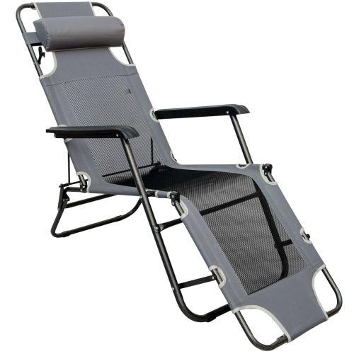 Chaise Longue Pliable pour camping et jardin Transat Inclinable avec repose-tête Structure en ac