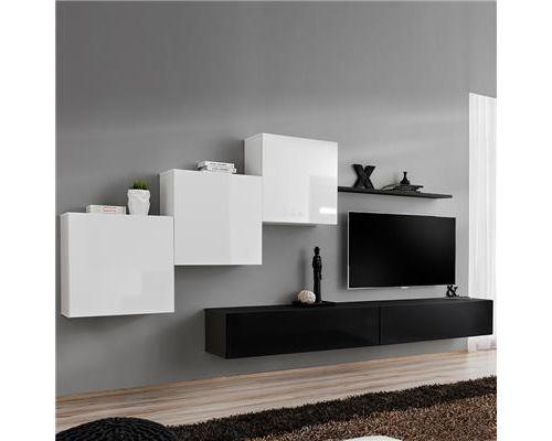 Meuble TV suspendu blanc et noir DUCCIO-L 330 x P 40 x H 160 cm- Blanc