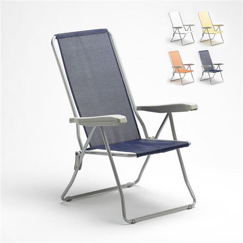 Beach and Garden Design - Chaise longue de jardin de plage avec accoudoirs en acier Easy, Couleur: Bleu