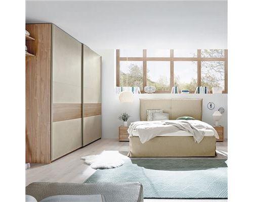 Chambre adulte couleur bois miel et taupe ADRIANO lit coffre - L 185 x P 220 x H 125 cm