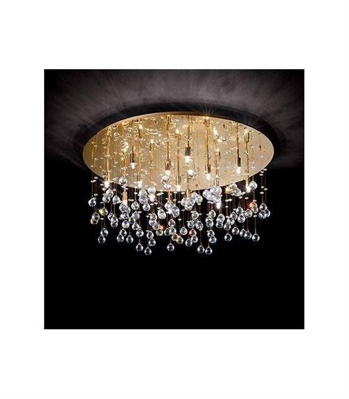 Plafonnier Doré en cristal MOONLIGHT 15 ampoules