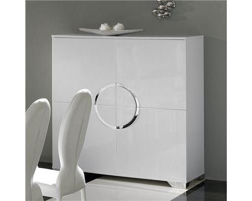 Buffet haut blanc laqué 4 portes design BISHOP - Blanc - L 120 x P 50 x H 125 cm