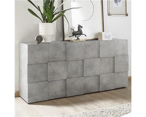 Enfilade 3 portes gris effet béton design ARTIC 4 - Gris - L 181 x P 42 x H 84 cm