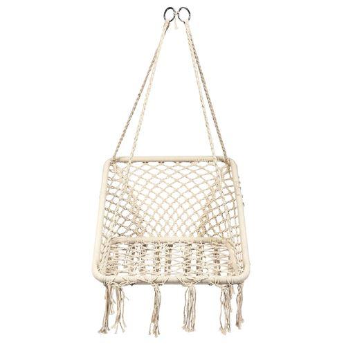 hamac giantex beige 64X55X125cm chaise suspendue 1 place en forme carré charge max.120kg corde en coton pour intérieur et extérieur