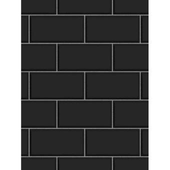Effet carreaux métro Papier peint noir Fine Decor - Décors et ...