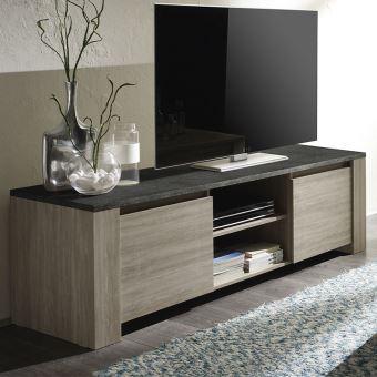 8227939d9d6c5 Nouvomeuble - Meuble tv couleur chêne gris et imitation ardoise  contemporain antole 2 - Meuble TV - Achat   prix