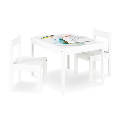 Table enfant Sinna Blanc 64x50cm + 2 chaises