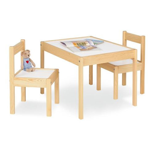 Table enfant Olaf Blanc Naturel 64x50cm + 2 chaises