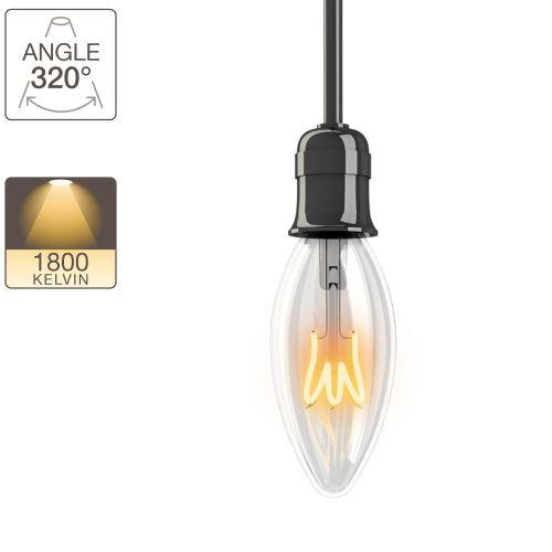 Ampoule LED flamme - culot E14 - vintage torsade