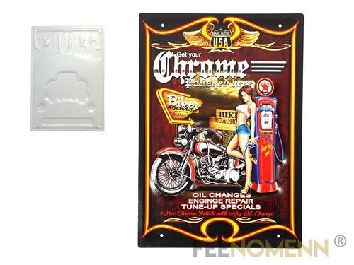 plaque métal déco vintage - effet relief - biker get your chrome - harley station (30x40cm)