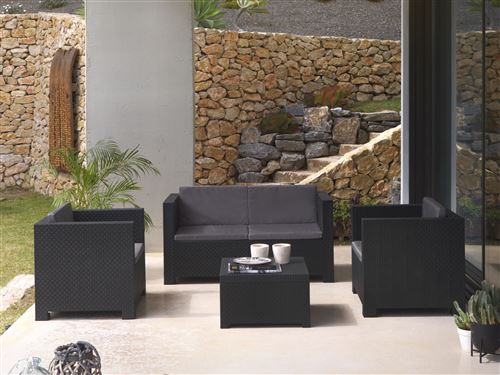 Figari - Salon bas de jardin 4 places - en résine tressée injectée - noir avec coussins gris - avec coffre Couleur - Noir