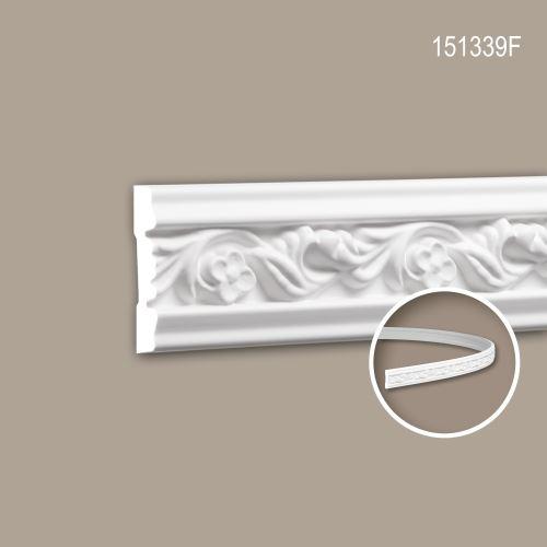 Cimaise 151339F Profhome Moulure décorative flexible style Rococo-Baroque blanc 2 m