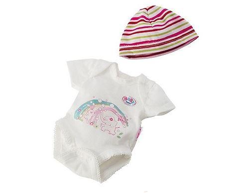 Body imprimé avec bonnet rayé pour poupon 43 cm baby born (réf.za26)