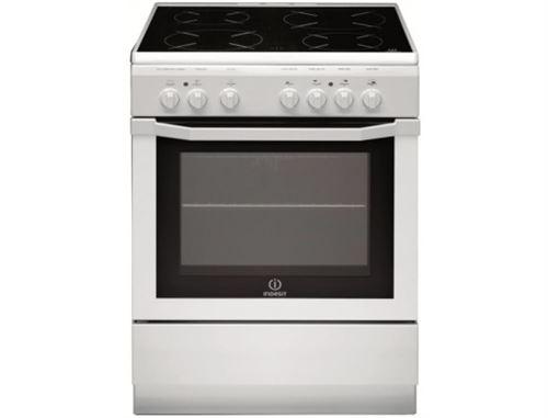 Indesit Full Glass I6V6C1A.H(W)/FR - Cuisinière - pose libre - largeur : 60 cm - profondeur : 60 cm - hauteur : 85 cm - avec système auto-nettoyant - classe A - blanc