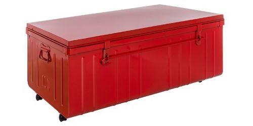 Pierre Henry - Table basse malle en métal Rouge