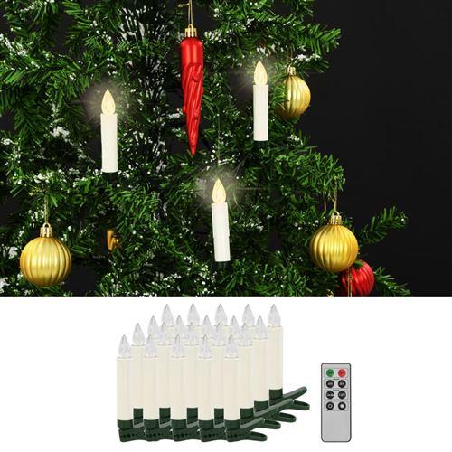 Bougies LED sans fil avec télécommande 20 pcs Blanc chaud