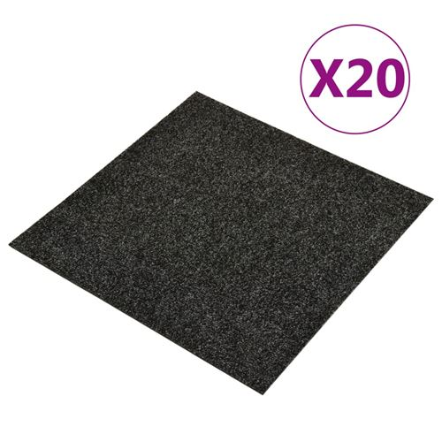 vidaXL Dalles de tapis de sol 20 pcs 5 m² Noir