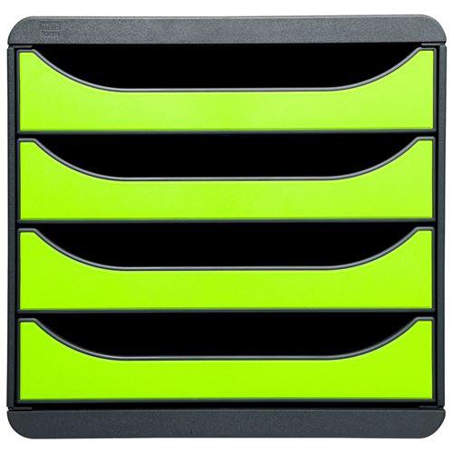 exacompta exacompta module de classement big-box, 4 tiroirs, vert noir