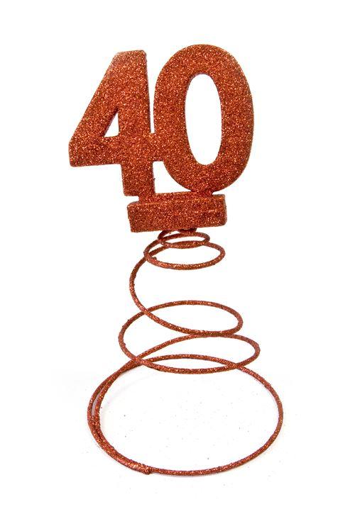 Centre de table pour anniversaire 40 ans - Rouge pailletée