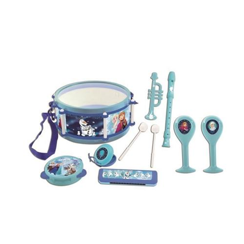 LEXIBOOK - LA REINE DES NEIGES - Lot de 7 Instruments de musique Enfant - Tambourin - Maracas - Castagnette - Harmonica - Flute