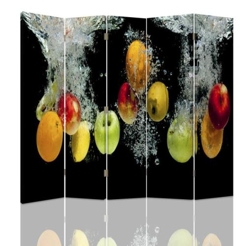 Feeby Paravent 5 panneaux deux faces Diviseur de pièce déco intérieur, Pommes Eau 180x180 cm