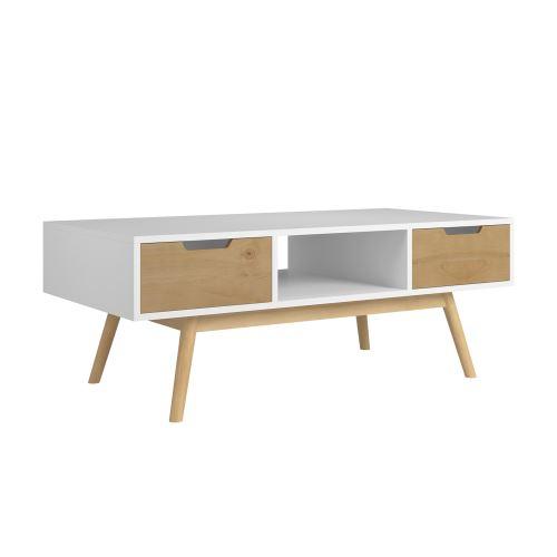 TABLE basse JAVA 2 tiroirs et une niche blanc et ciré