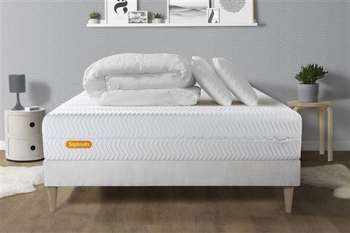PACK Matelas + sommier kit blanc 140x190 Memo Bio Mousse à mémoire de forme Maxi épaisseur + Couette + 2 oreillers
