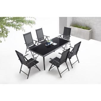 BOBOCHIC Rialto - Salon de jardin 6 places en aluminium et textilène ...