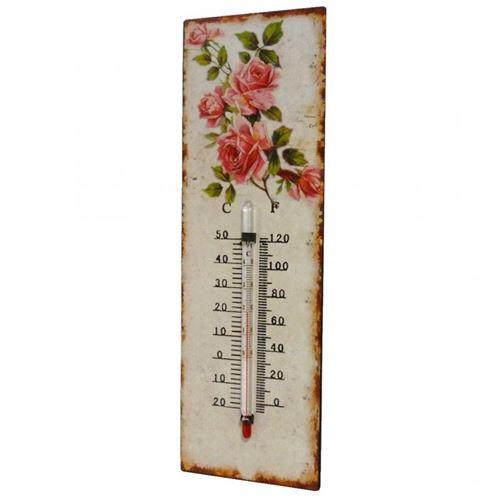 L'Héritier Du Temps - Thermomètre mural décoratif en celsius et farenheit ou à poser motif 'floral' en fer et papier vernis 0,5x8x25cm