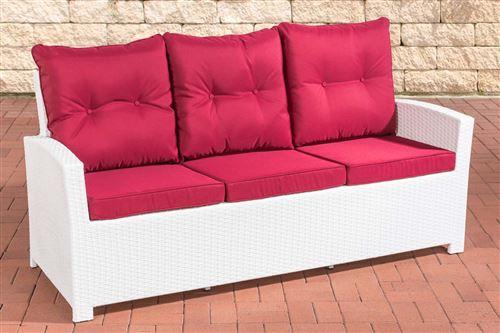 Canapé de Jardin Fisolo 3 places en polyrotin , Blanc /Rouge rubis